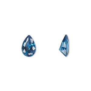 gem, cubic zirconia, zircon blue, 9x6mm faceted pear, mohs hardness 8-1/2. sold individually.
