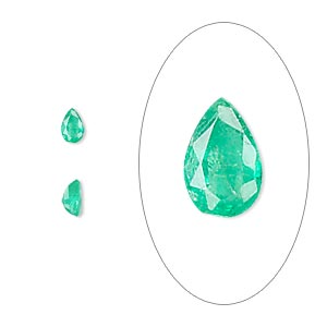 gem, emerald (oiled), 5x3mm faceted pear, b grade, mohs hardness 7-1/2 to 8. sold individually.