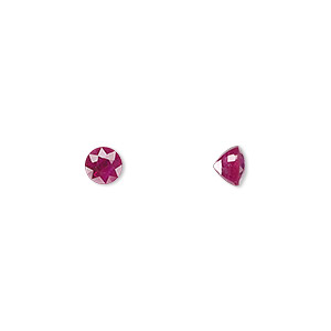 gem, ruby (heated), 5mm faceted round, a grade, mohs hardness 9. sold individually.