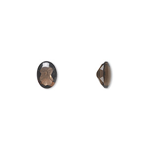 gem, smoky quartz (heated/irradiated), 8x6mm buff-top oval, a grade, mohs hardness 7. sold per pkg of 2.