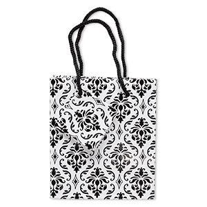 gift bag, paper and nylon, black and white, 4-3/4 x 4-1/2 inches with damask pattern and handle with tag. sold per pkg of 2.
