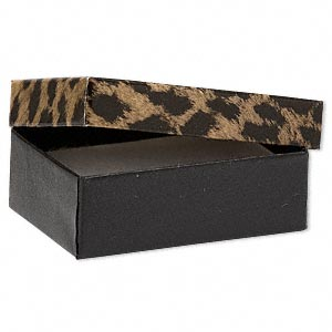 gift box, leopard print, 3 x 2-1/8 x 1-inch rectangle with cotton filling. sold per pkg of 100.