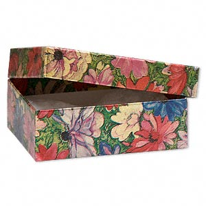 gift box, metallic floral, 3 x 2-1/8 x 1 inch rectangle with cotton filling. sold per pkg of 100.