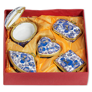 gift box mix, porcelain / acrylic / gold-finished pewter (zinc-based alloy), blue / dark blue / white, 1-1/2 to 2x1-1/2 inch hinged mixed shape with flower decal. sold per 5-piece set.