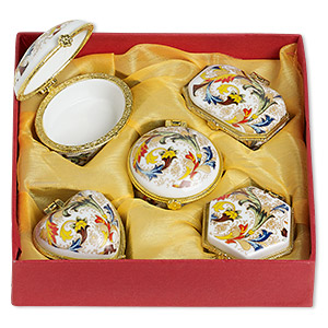 gift box mix, porcelain and acrylic, white / gold / multicolored, 1-1/2 to 2x1-1/2 inch hinged mixed shape with floral decal. sold per 5-piece set.