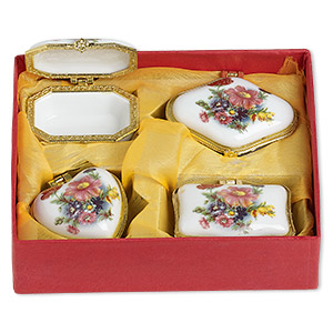 gift box mix, porcelain and acrylic, white / gold / multicolored, 2-1/2 x 2 to 3x2-inch hinged mixed shape with flower decal. sold per 4-piece set.