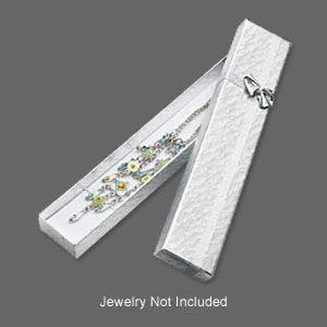 gift box, paper and foam, silver and white, 8-1/4 x 1-1/2 x 3/4 inch rectangle with ribbon and bow. sold per pkg of 12.