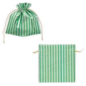 gift pouch, nylon, green / gold / metallic silver, 6-1/4 x 6-1/4 inches with textured caftan stripes and drawstring. sold per pkg of 2.