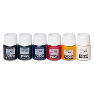 glass paint, pebeo, assorted colors. sold per pkg of (6) 20-milliliter bottles.