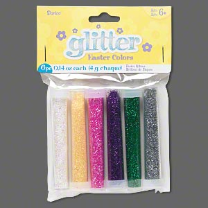 glitter, assorted easter theme colors, 0.14 ounce tube. sold per pkg of 6.