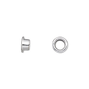 grommet, glue-in, silver-plated brass, 8mm round, 5mm inside diameter. sold per pkg of 100.