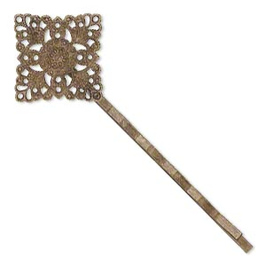 hair clip, antique brass-plated steel, 59x21mm with 21x21mm filigree diamond. sold per pkg of 8.