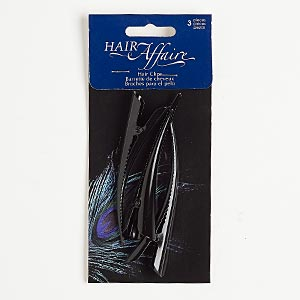hair clip, steel, black, 3-1/4 x 1/2 inches. sold per pkg of 3.