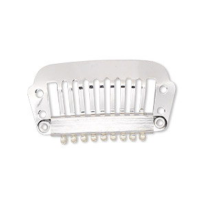 hair comb, silver-plated stainless steel, finding, 32x12mm with 4 holes. sold per pkg of 12.