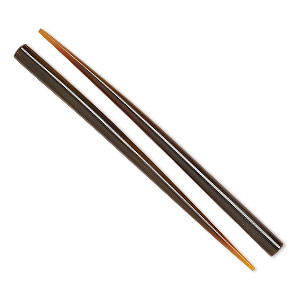 hair stick, horn (dyed), brown, 6 inches, end-drilled. sold per pkg of 2.