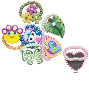 hair tie mix, polymer clay and steel, multiple colors and shapes, 49mm-62x43mm. sold per pkg of 6.