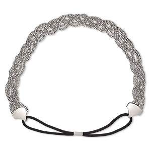 headband, stretch, nylon / rubber / imitation rhodium-plated steel, black, 20mm wide with woven design, 20 inches. sold individually.