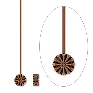 headpin, antique copper-plated pewter (zinc-based alloy), 2 inches with 6x6mm flower, 21 gauge. sold per pkg of 500.
