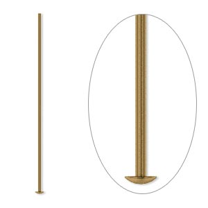 headpin, antique gold-plated brass, 1-1/2 inches, 21 gauge. sold per pkg of 500.