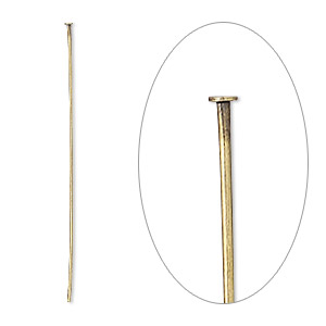 headpin, antique gold-plated brass, 1-1/2 inches, 24 gauge. sold per pkg of 1,000.