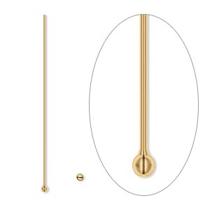 headpin, antique gold-plated brass, 1-1/2 inches with 1.5mm ball, 24 gauge. sold per pkg of 500.