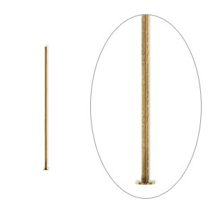 headpin, antique gold-plated brass, 1-inch, 24 gauge. sold per pkg of 100.