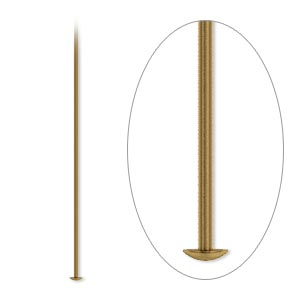 headpin, antique gold-plated brass, 2-1/2 inches, 21 gauge. sold per pkg of 100.