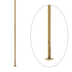 headpin, antique gold-plated brass, 2 inches, 21 gauge. sold per pkg of 100.