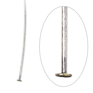 headpin, antique silver-plated brass, 2 inches, 21 gauge. sold per pkg of 100.