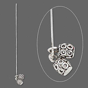 headpin, antique silver-plated pewter (tin-based alloy) and brass, 3 to 3-1/2 inches with 7x6mm dangles with loop, 18 gauge. sold per pkg of 4.
