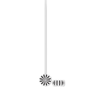 headpin, antique silver-plated pewter (zinc-based alloy), 2 inches with 6x6mm flower, 21 gauge. sold per pkg of 20.