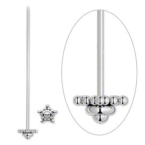 headpin, antiqued sterling silver, 2 inches with 6mm star, 21 gauge. sold per pkg of 2.