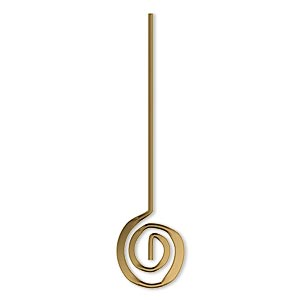 headpin, crop circles jewelry, antique gold-plated brass, 1-7/8 inches with 12mm swirl, 19 gauge. sold per pkg of 10.