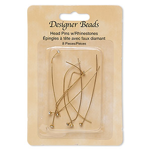 headpin, glass rhinestone and gold-finished pewter (zinc-based alloy), clear, 2-1/4 inches with 3mm faceted round, 23 gauge. sold per pkg of 8.