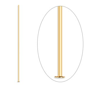 headpin, gold-plated brass, 1-1/2 inches, 24 gauge. sold per pkg of 100.