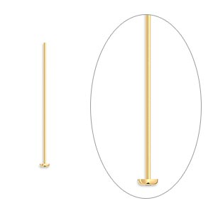 headpin, gold-plated brass, 1 inch, 24 gauge. sold per pkg of 100.