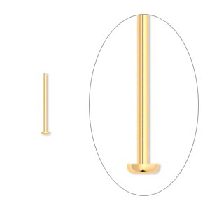 headpin, gold-plated brass, 1/2 inch, 22 gauge. sold per pkg of 100.