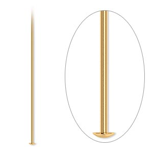 headpin, gold-plated brass, 2 inches, 21 gauge. sold per pkg of 500.