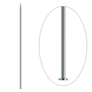 headpin, gunmetal-plated brass, 2 inches, 24 gauge. sold per pkg of 500.