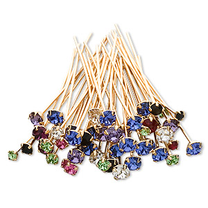 headpin mix, swarovski crystal rhinestone and gold-plated brass, mixed colors, 1-1/2 inches with pp18 / pp24 / pp32, 21-23 gauge. sold per pkg of 48.