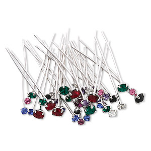 headpin mix, swarovski crystal rhinestone with silver- and rhodium-plated brass, mixed colors, 1-1/2 inches with pp18 / pp24 / pp32, 21-23 gauge. sold per pkg of 48.