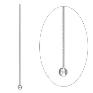 headpin, stainless steel, 1-1/2 inches with 2mm ball, 24 gauge. sold per pkg of 500.