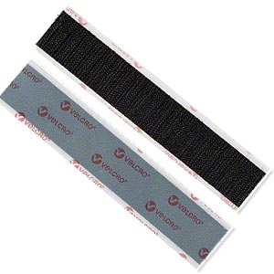 hook and loop fastener, velcro with adhesive, nylon, black, 6x1-inch rectangle. sold per pkg of 2 pairs.
