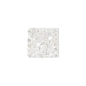 iron-on transfer, swarovski hotfix crystal rocks, crystal silver shade, 15x15mm square (340348). sold individually.