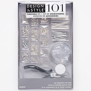jewelry-making starter kit, design  style, plastic / steel / stainless steel / silver-finished pewter (zinc-based alloy), clear and black. sold per 287-piece set.