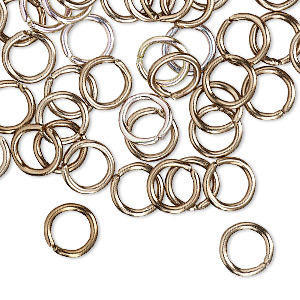 jumpring, anodized aluminum, bronze, 8mm round, 5.4mm inside diameter, 16 gauge. sold per pkg of 100.