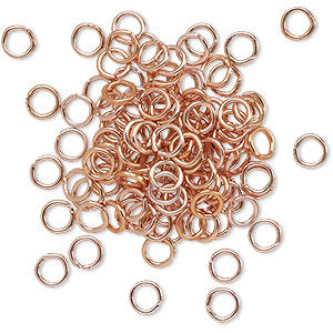 jumpring, anodized aluminum, copper, 4.5mm round, 2.9mm inside diameter, 20 gauge. sold per pkg of 100.