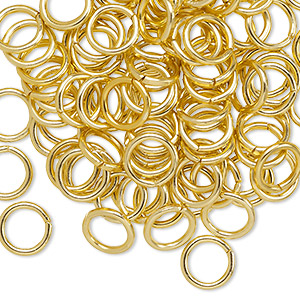 jumpring, anodized aluminum, gold, 8mm round, 5.4mm inside diameter, 16 gauge. sold per pkg of 100.