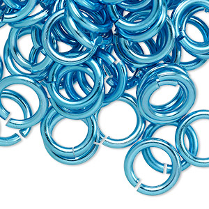 jumpring, anodized aluminum, light blue, 12mm round, 7.9mm inside diameter, 12 gauge. sold per pkg of 100.