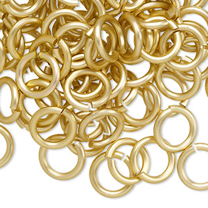 jumpring, anodized aluminum, matte gold, 10mm round, 6.8mm inside diameter, 14 gauge. sold per pkg of 100.